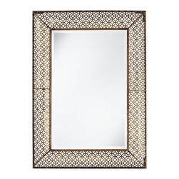"Uttermost - Contemporary Uttermost Ariston 26"" x 36"" Metal Wall Mirror - Metal wall mirror. Stamped openwork frame. Heavily antiqued gold leaf finish. Beveled. From Uttermost. 26"" wide. 36"" high.  Metal wall mirror.  Stamped openwork frame.   Heavily antiqued gold leaf finish.   Beveled.   From Uttermost.   26"" wide.   36"" high.  Hang weight is 13 pounds."