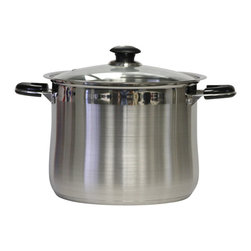 CONCORD - 16qt Stainless Steel Stockpot with Glass Lid - This 16qt stock pot is made 0f 18/10 stainless steel with a 5 mm encapsulated bottom and a 7 mm body. The handles are riveted in place and made of stainless steel with stay cool bakelite plastic. It is an overall satin finish with a mirrior finish line.