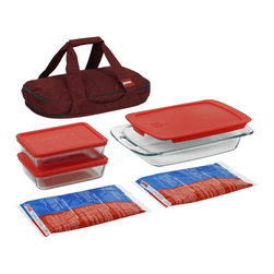 Pyrex Portable 9-Piece Double Decker Set, Red Carrier - It's important to be safe with your food, and this casserole combo will keep it the way you need it, whether that's hot or cold. The set comes with a carrying case too.