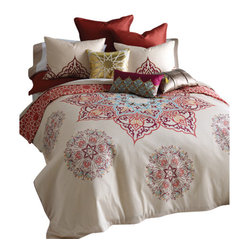 Blissliving Home - Chanda Duvet Set, King - Don't just make your bed — indulge it! This luxurious duvet cover and two matching shams are woven of 300 thread count pure cotton sateen and feature two patterns: intricate medallions on one side and a geometric motif of coral and cream on the other.
