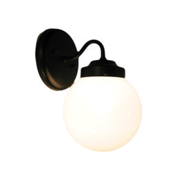 TINA ISLE. MILK GLASS SCONCE WALL LIGHT FIXTURE, Satin Nickel - Like the moon on a summer nite, this beautiful contemporary milkglass sconce is ready for any room in the house. With a satin nickel finish and a round globe, it gives the light a 'suburban subway' feel.