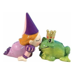 WL - Princess and Green Frog Kissing Salt and Pepper Shakers - This gorgeous 3.5 Inch Princess and Green Frog Kissing Salt and Pepper Shakers has the finest details and highest quality you will find anywhere! 3.5 Inch Princess and Green Frog Kissing Salt and Pepper Shakers is truly remarkable.