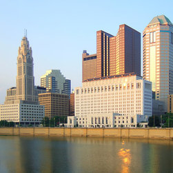 Murals Your Way - Columbus, Ohio (Stock Photos) Wall Art - Sunlight reflects off the windows of the downtown buildings and creates splashes of color in the Scioto River in this wall mural of Columbus, Ohio