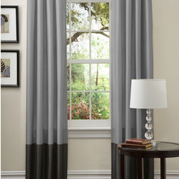 Lush Decor - Lush Decor Prima Silver/ Black Curtain Panel Pair - These simple faux silk curtain panels will look great hanging in any room. The top look design of these curtains make them easy to slide onto your existing curtain rod. Each set comes with two panels that are lined. Choose your size from three options.
