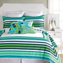 """Trina Turk - Trina Turk Huntington Stripe Comforter Set - Vivid stripes in navy blue, turquoise, and green are highlighted by a crisp white background.  Trina Turk's cotton Huntington bedding comforter set is fresh, modern and casually sophisticated.-  Large-scale pattern reverse to smaller print-  100% cotton sateen-  100% cotton fill-  Machine washable-  ImportedTwin Set-  Twin T/TXL comforter - 68"""" x 92""""-  1 std sham - 21"""" x 27""""Queen Set-  Queen comforter - 92"""" x 96""""-  2 std shams - 21"""" x 27""""King Set-  King comforter - 110"""" x 96""""-  2 king shams - 21"""" x 37"""""""