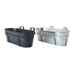 Sarah Fager - HÖSTÖ Flower box with holder - Flower box with holder, black, galvanized