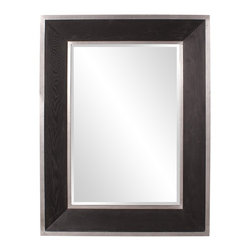 Howard Elliott - Jackson Wood Mirror - The Jackson mirror features a sleek and sophisticated look with an espresso wood grain veneer frame trimmed with a brushed aluminum border.
