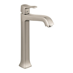 Hansgrohe - Hansgrohe 31078821 Metris C Faucet Tall in Brushed Nickel - Faucet Tall in Brushed Nickel belongs to Metris Collection by Hansgrohe This Hansgrohe Metris C Single Hole 1-Handle Mid-Arc Bathroom Faucet in Brushed Nickel delivers a sleek look to provide your bath or powder room with an easy-to-use fixture, thanks to its single-handle design. A ceramic disc cartridge helps provide drip-free usage for added convenience.  Faucet (1)