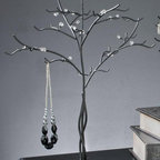"""23""""H Black with Clear Beads Elegant Jewelry Tree, Modern Jewelry Organizer - Black Metal Jewelry Tree is constructed of Black metal wire with clear acrylic beads."""