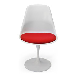 Inmod - Saarinen Tulip Style Side Chair, White Shell / Red Cushion - Part of the Inmod Signature Collection
