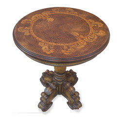 Custom Round Accent Table, Torched Brown with Scrolls - Custom Round Accent Table, Torched Brown with Scrolls