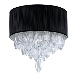 Warehouse of Tiffany - Silk Crystal Chandelier - Add some elegance to the home with this crystal chandelier. The dynamic lighting element features generous rows of cascading crystals to catch the light along with an elegant ruffled partially translucent black shade. Setting: IndoorsFixture finish: ChromeMaterials: CrystalShades: BlackNumber of lights: Four (4)Requires four (4) 60-watt standard bulbs (not included)Dimensions: 10 inches high x 18 inches wideThis fixture does need to be hard wired. Professional installation is recommended. Note: This disclaimer does not apply to floor and table lampsCSA Listed, ETL Listed, UL Listed