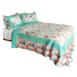 Blancho Bedding - [Start My Youth] Cotton 3PC Vermicelli-Quilted Patchwork Quilt Set (Full/Queen) - Set includes a quilt and two quilted shams (one in twin set). Shell and fill are 100% cotton. For convenience, all bedding components are machine washable on cold in the gentle cycle and can be dried on low heat and will last you years. Intricate vermicelli quilting provides a rich surface texture. This vermicelli-quilted quilt set will refresh your bedroom decor instantly, create a cozy and inviting atmosphere and is sure to transform the look of your bedroom or guest room. Dimensions: Full/Queen quilt: 90 inches x 98 inches  Standard sham: 20 inches x 26 inches.