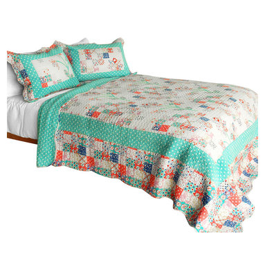 Blancho Bedding - Start My Youth Cotton 3PC Vermicelli-Quilted Patchwork Quilt Set  Full/Queen - Set includes a quilt and two quilted shams (one in twin set). Shell and fill are 100% cotton. For convenience, all bedding components are machine washable on cold in the gentle cycle and can be dried on low heat and will last you years. Intricate vermicelli quilting provides a rich surface texture. This vermicelli-quilted quilt set will refresh your bedroom decor instantly, create a cozy and inviting atmosphere and is sure to transform the look of your bedroom or guest room. Dimensions: Full/Queen quilt: 90 inches x 98 inches  Standard sham: 20 inches x 26 inches.