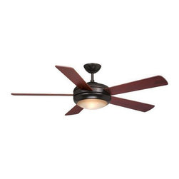 AireRyder - Rialta 52 in. Ceiling Fan in Oil Burnished Br - 52 in. W x 52 in. D x 14.75 in. H. Blade Finish: Rosewood. Blade Span: 52 in.. Blade Pitch: 13 Degrees. Motor Size: 188x15. Downrod Size: 6 in.. Number of Blades: 5. RPM (Hi/Med/Low): 195/165/120. Mounting Method: Downrod. Downrod Diameter: 3/4 in.. Lead Wire: 78 in.. Fan Speed & Light Dimmer Remote Control Included. Integrated Fan Light. 4,884 CFM; 66 Watts; 74 CFM/Watt. Downrod Diameter: 3/4 in.. Lead Wire: 78 in.. 52 in. W x 52 in. D x 14.75 in. H