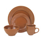 "Lorren Home Trends - Lorren Home Trends Embossed 16 Piece Dinnerware Set, Brown - 16 Piece Stoneware dinnerware set from Lorren Home Trends features a nuetral embossed finish to coordinate with any style or design.  Dishwasher and microwave safe dinnerware set, great for everyday use.  Each set includes (4) 11"" dinner plates, (4) 8"" salad plate, (4) 6"" bowls, and (4) 4"" tall mugs with a 12 ounce capacity."