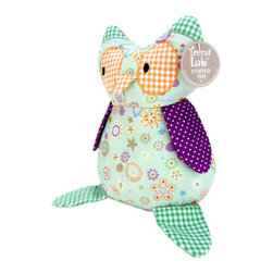 """Trend Lab - Stuffed Toy - Jelly Bean Owl - Welcome baby with this adorable Jelly Bean Patchwork Owl Stuffed Toy by Trend Lab. This friendly patched owl is made from soft cotton and is embellished with embroidery. Stuffed owl prints include: a summer green floral print featuring touches of grape, yellow, blue raspberry and cherry; a grape mini dot print; and two gingham prints in orange peel and summer green. Owl stands approximately 10"""" tall. Owl Stuffed Toy coordinates with the Jelly Bean Collection by Trend Lab."""