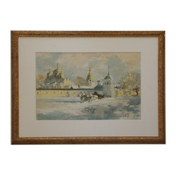 "Russian Winter - Consigned Vintage Artwork - Dramatic yet soft mixed media painting of Russian winter. Signed ""Myctacpaeb AA 95"" lower right. Displayed in a thick paper mat and giltwood frame with carved details. Minimal signs of wear."