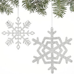 Sparkly Glitter Small Snowflake Ornament - These ornaments would look great on a tree, but I would also tie them up with the bow when wrapping gifts for a little extra cheer.