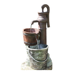 Pump w/ Pail Outdoor Water Fountain