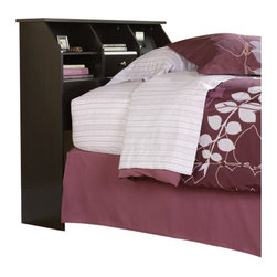 Sauder - Sauder Shoal Creek Twin Bookcase Headboard in Jamocha Wood - Sauder - Headboards - 412091 - This Sauder bookcase headboard is designed to attach to a twin size bed. The spacious display area on the bookcase is designed for an alarm clock and books. This bookcase headboard also features two adjustable shelves and hidden storage behind a flip-up drawer front. The enclosed back panel has cord access.