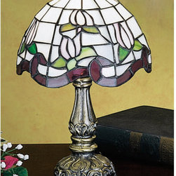 Meyda Tiffany - Meyda Tiffany 31210 Stained Glass / Tiffany Accent Table Lamp Roseborde - Copperfoil CollectionMini Lamp1 Candelabra bulb, 40w (max)