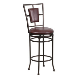 Flash Furniture - Flash Furniture 29 Inch Brown Metal Bar Stool with Brown Leather Swivel Seat - This gracefully styled stool will add an elegant finish to your kitchen, dining room or bar area. The curvaceous frame and attractive powder coated finish will complement any decor. The plush padded seat looks and feels great. A full 360 degree swivel and footrest ring provides comfort and ease. [BS-6357-29-BN-GG]