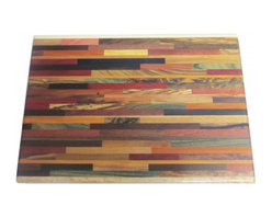 Exotic Chopping Blocks - Large Brick Pattern Cutting Board - This richly designed and colorful board contains woods such as Verawood, Chokte Viga, Pink Ivory, Holly, Zebra, Bocate, Yellow Heart, and Satinwood.
