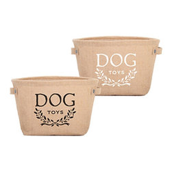 Hemp Dog Toy Storage Container - You no longer have to look at dog toys strewn about your living room, thanks to this attractive Hemp Dog Toy Storage Container. You can pull everything fun out at playtime, and then hide it in the container when you're ready to tidy up.