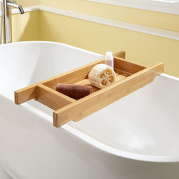 "30"" Hancock Bamboo Tub Caddy - Let yourself soak a little longer with the Hancock Bamboo 30"" Tub Caddy, which features high sides to keep bath items from tipping over."