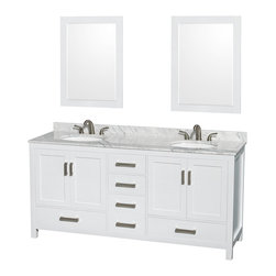 """Wyndham Collection - Sheffield 72"""" White Double Vanity, Carrera Marble Top & Undermount Oval Sink - Distinctive styling and elegant lines come together to form a complete range of modern classics in the Sheffield Bathroom Vanity collection. Inspired by well established American standards and crafted without compromise, these vanities are designed to complement any decor, from traditional to minimalist modern. Available in multiple sizes and finishes."""