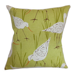 """The Pillow Collection - Joensuu Animal Pillow Grass - This throw pillow will definitely seize your gaze with its striking color and interesting print. This square pillow features an animal print on a grass green background. This accent pillow is perfect for your living room, bedroom or anywhere inside your home. Made from 100% soft cotton fabric, this 18"""" pillow brings comfort and style to your interiors. Hidden zipper closure for easy cover removal.  Knife edge finish on all four sides.  Reversible pillow with the same fabric on the back side.  Spot cleaning suggested."""