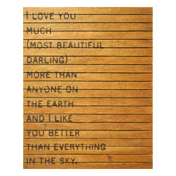 """Kathy Kuo Home - """"I Love You So Much"""" Slatted Wood Distressed Wall Art - Move earth and sky to get an individual look in your rooms. This large wall hanging will help. The quote is a bold and loving testament to your darling, printed on distressed and reclaimed wood in a warm, natural finish so no two are exactly alike."""