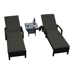 "Reef Rattan - Reef Rattan 3 Pc Islander Chaise Lounger Set Black Rattan / Grey Cushions - Reef Rattan 3 Pc Islander Chaise Lounger Set Black Rattan / Grey Cushions. This patio set is made from all-weather resin wicker and produced to fulfill your needs for high quality. The resin wicker in this patio set won't fade, shrink, lose its strength, or snap. UV resistant and water resistant, this patio set is durable and easy to maintain. A rust-free powder-coated aluminum frame provides strength to withstand years of use. Sunbrella fabrics on patio furniture lends you the sophistication of a five star hotel, right in your outdoor living space, featuring industry leading Sunbrella fabrics. Designed to reflect that ultra-chic look, and with superior resistance to the elements in a variety of climates, the series stands for comfort, class, and constancy. Recreating the poolside high end feel of an upmarket hotel for outdoor living in a residence or commercial space is easy with this patio furniture. After all, you want a set of patio furniture that's going to look great, and do so for the long-term. The canvas-like fabrics which are designed by Sunbrella utilize the latest synthetic fiber technology are engineered to resist stains and UV fading. This is patio furniture that is made to endure, along with the classic look they represent. When you're creating a comfortable and stylish outdoor room, you're looking for the best quality at a price that makes sense. Resin wicker looks like natural wicker but is made of synthetic polyethylene fiber. Resin wicker is durable & easy to maintain and resistant against the elements. UV Resistant Wicker. Welded aluminum frame is nearly in-destructible and rust free. Stain resistant sunbrella cushions are double-stitched for strength and are fully machine washable. Removable covers made with commercial grade zippers. Tables include tempered glass top. 5 year warranty on this product. PLEASE NOTE: Throw pillows are NOT included. Chaise Lounger (2): W 29"" D 78"" H 10"", Coffee Table: W 20"" D 18"" H 10"""