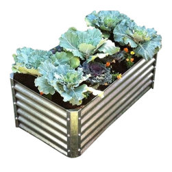 Carrier Security - Corrugated Metal Garden Bed - Corrugated Metal Trough Raised Beds  - Low Cost Elevated Garden Beds Last Forever