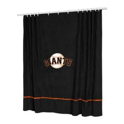 Sports Coverage - MLB San Francisco Giants Sidelines Shower Curtain - Spruce up your Bathroom and show your MLB spirit with this San Francisco Giants Sidelines Shower Curtain from Sports Coverage! Featuring 100% Polyester Jersey with screenprinted logo. It measures 72 x 72.