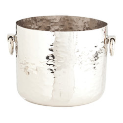 Kathy Kuo Home - Grace Small Metal Polished Nickel Modern Metal Wine Cooler - Crafted from polished nickel, hammered to create a lively texture, this container could work as a stylish plant holder, catch-all bowl, or ice bucket.  Gorgeous and functional!