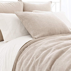 Pine Cone Hill - Pine Cone Hill Linen Chenille Duvet Cover & Shams, Natural, European Sham - Add this this plush European sham to complete the luxurious design.
