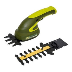 """Snow Joe - Cordless 2 In 1 Hedge Trimmer - Sun Joe Hedger Joe 3.6 Volt Li-ion 2 Tools in 1 Cordless Grass Shear/Shrubber for Small gardens, hedge grooming and areas your mower cannot reach.  2 tools in 1: Convert from grass shear to shrubber quickly and easily.  Long-life, rechargeable, 3.6 V lithium-ion battery for hassle-free, cordless operation (battery charger included).  Lightweight design (only 2.11 lbs!) with ergonomic handle for easy control and handling.  Interchangeable 3.31-"""" shear blade and 5-"""" shrubber blade tackle multiple grooming tasks.  ETL approved."""