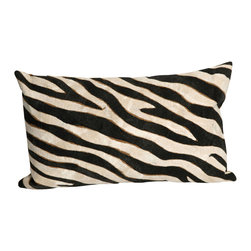 "Trans-Ocean - Zebra Black Pillow - 12""X20"" - The highly detailed painterly effect is achieved by Liora Manne's patented Lamontage process which combines hand crafted art with cutting edge technology.These pillows are made with 100% polyester microfiber for an extra soft hand, and a 100% Polyester Insert.Liora Manne's pillows are suitable for Indoors or Outdoors, are antimicrobial, have a removable cover with a zipper closure for easy-care, and are handwashable."
