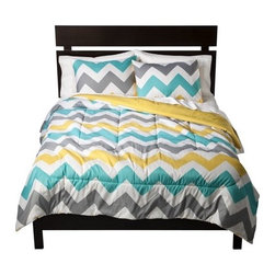 Room Essentials Chevron Comforter, White - Colorful chevron is really fun and will brighten up any space.