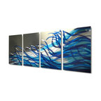 Miles Shay - Metal Wall Art Decor Abstract Contemporary Modern Sculpture- Blue Resonance - This Abstract Metal Wall Art & Sculpture captures the interplay of the highlights and shadows and creates a new three dimensional sense of movement as your view it from different angles.