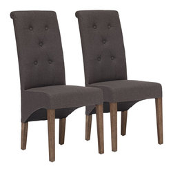 """Zuo - Set of 2 Zuo Hayes Valley Charcoal Gray Chairs - Set of 2 Zuo Hayes Valley Charcoal Gray Chairs. Set of 2. Charcoal gray linen upholstery. Solid oak wood frame construction. Tufted seat back. No assembly required. Seat is 18 1/2"""" high 18 1/4"""" wide 16 1/2"""" deep. 41 1/2"""" high. 18"""" wide. 26 1/4"""" deep.  Set of 2.  Charcoal gray linen upholstery.  Solid oak wood frame construction.  Tufted seat back.  No assembly required.  Seat is 18 1/2"""" high 18 1/4"""" wide 16 1/2"""" deep.  41 1/2"""" high.  18"""" wide.  26 1/4"""" deep."""