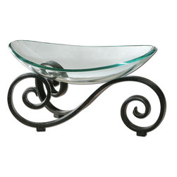 Uttermost - Arla Glass Bowl - Black Crackle Metal Stand With Gray Glaze And Clear Glass Bowl.