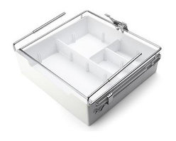 Lifetime Brands - Kamenstein White Xtra Drawer Organizer - Kamenstein White Xtra Drawer Shelf Storage Organizer r is perfect for utilizing unused space for increased storage without any fasteners. It allows you to store just about anything you want and can be used anywhere there is 12 inch or more depth of shelves. Will fit onto shelf thicknesses between 1/2 inch to 3/4 inch thick and stays in place when opening and closing the storage drawer. The drawer opens out full to an angle allowing user to access inside with ease. Comes with 1 large and 2 medium dividers to allow for different compartment layouts. To clean hand-wash with mild detergent and towel dry. Storage organizer measures 11-3/4 inch long x 11-3/8 inch wide x 4-1/2 inch high.