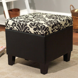 None - Zoe Storage Ottoman - Prop up your feet and relax with this square storage ottoman made by Zoe. It has a cushioned top for comfort, and the lid opens to reveal hidden storage. The black base and black-and-white pattern on the upholstered top will blend in with your decor.