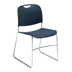 National Public Seating - Hi-Tech Ultra Compact Stacking Chair w Back - Whether you need seats for your lecture or buffet rooms, high school or university classrooms, these stackable chairs masterfully captured with dependable poly shell and stylish steel, are ideal accessories for your congregating spaces. Sit this one out in a contemporary styled stacking chair. Frame is made from fluid chrome tubing and the seat and back are molded polyethylene. Buy in sets of four. These poly and steel frame stackable chairs are perfect for a range of events: conferences, debates, church anniversaries, fashion shows, banquets, buffets and fundraisers. * Set of 4 Chairs. Navy Blue. Removable protectective floor glides guard. 0.43 in. steel rod chrome plated frame. Injection molded polypropylene plastic seat and back. Steel contains 30-40% of post-consumer waste (recycled). Plastic contain upto 35% of pre-consumer waste. Meets ANSI and BIFMA standards. Warranty: Five years for material. 17.5 in. W x 22.5 in. D x 31 in. H. Tablet Arm Assembly Instruction