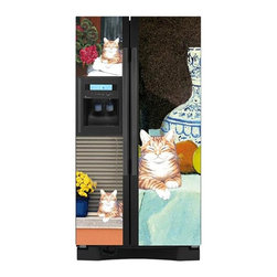 Appliance Art - Appliance Art Lounging Cat Side-by-side Refrigerator Cover - Bring this lounging cat home without having to spend a dime on cat food. This side-by-side refrigerator cover will give your kitchen decor a boost of color as well as personality.