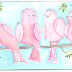 """Doodlefish - The Flock Stretched Canvas - 36"""" x 12"""" Stretched Canvas Giclee of the six sweet pink birds sitting on a branch with a bright aqua blue sky. Unframed, this pieces is a stretched canvas that is gallery-wrapped around thick museum quality wood. This is also available as one 36x12 piece with all six birds.  A companion piece Songbirds One makes the set a diptych. The branch travels across the artwork. Framed, it is mounted and framed in your choice of frame colors. The finished size with the frame is 40"""" x 16"""". Personalization is available. Location, font and size of personalization is at the discretion of the artist."""
