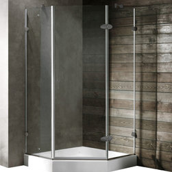 Vigo - Vigo 42 x 42 Frameless Neo-Angle 3/8in.  Clear/Brushed Nickel Shower Enclosure w - Vigo's exquisite taste and superior quality is reflected in this totally frameless neo-angle shower enclosure.